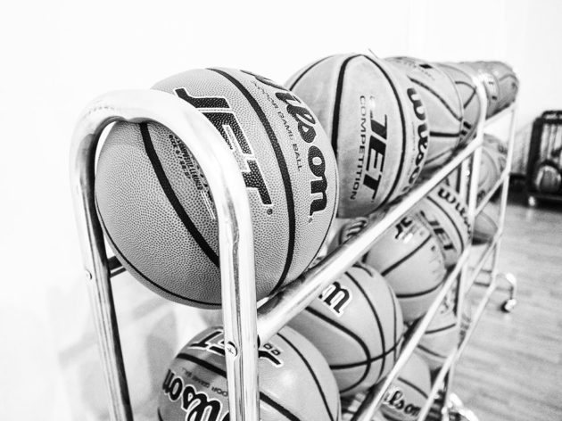 black & white basketballs