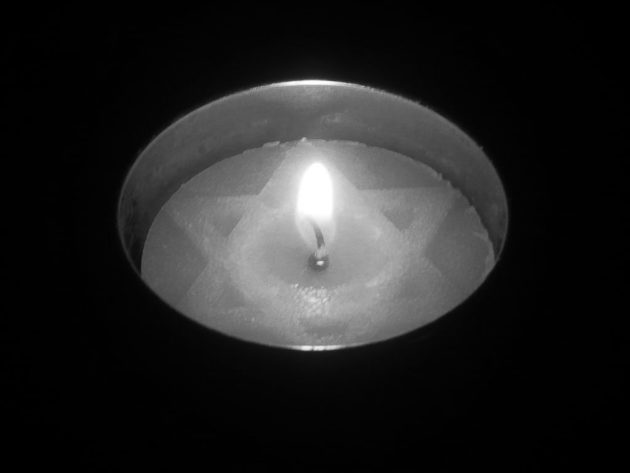 black and white candle