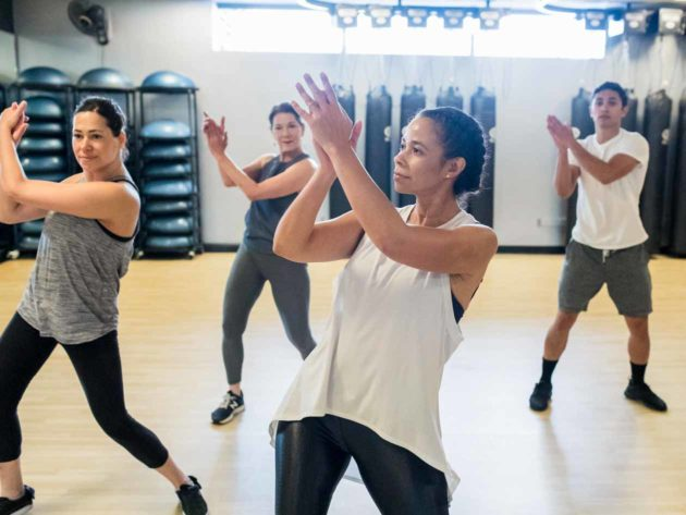 Group of JCCSF members clap during dance class
