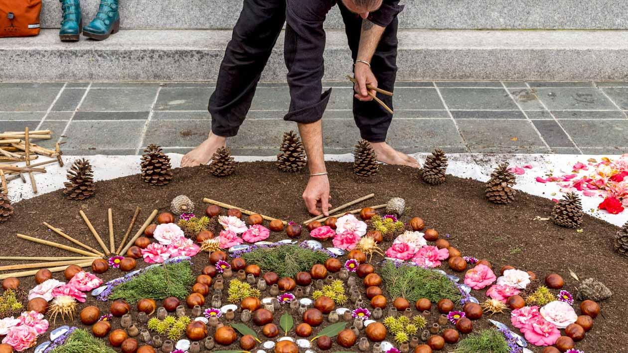 Person arranges flowerbed pattern