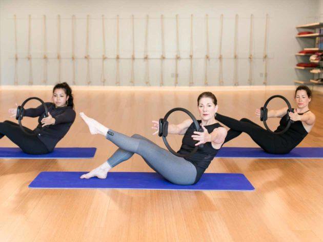 Pilates class on mats