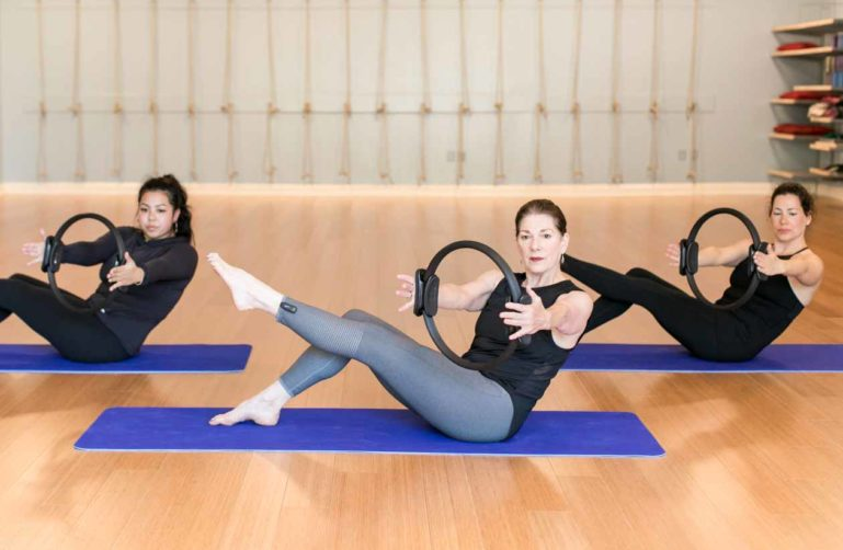 Pilates class on mats