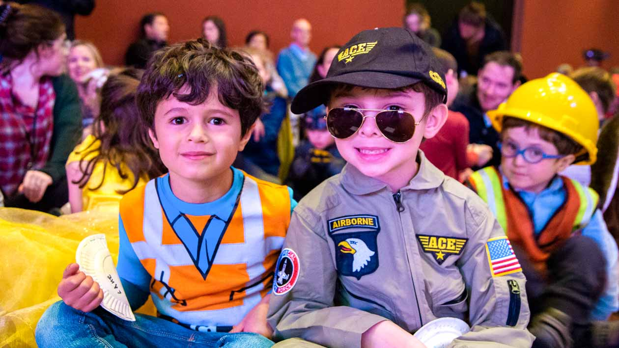 Children in costume for Purim celebration
