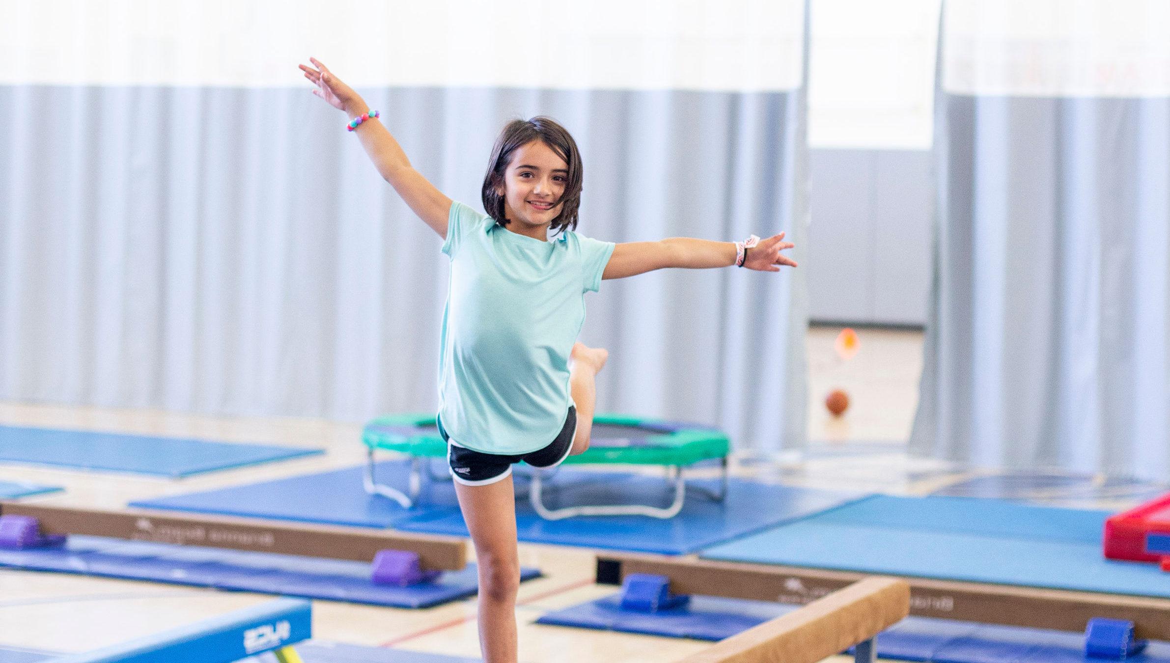 Girl doing gymnastics