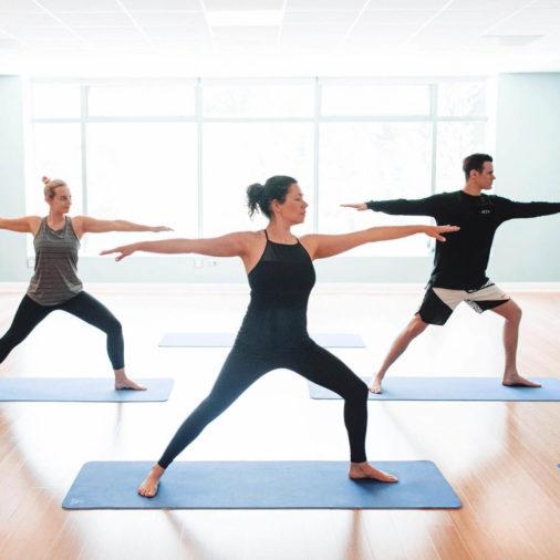 People taking a yoga class