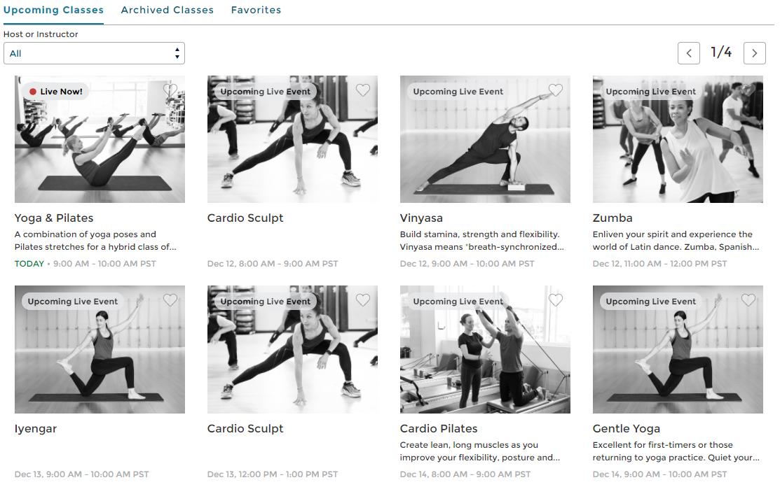 Upcoming classes screenshot