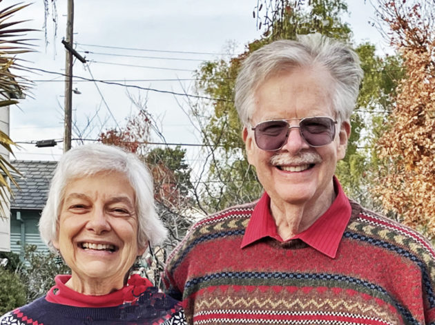 Picture of Jim Rebhan and Barbara Hollinger smiling side by side.