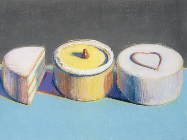 Wayne Thiebaud, Two and One-Half Cakes, 1972. Signed in graphite lower left: Thiebaud 1972. Pastel on paper, 22 1/8 x 30 in. (56 x 76.2 cm). Thiebaud Family Collection, courtesy of the Wayne Thiebaud