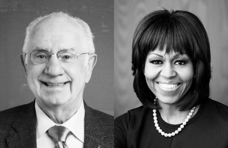 Black and white profile pictures of Michelle Obama and Oak Dowling